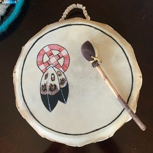 Vintage American Indian double sided rawhide drum